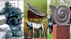 Stulna skulpturer. Till vänster: Profeten av Ernst Neizvestny, ovan i mitten: Magisk båt av Sam Westerholm, nedan i mitten: Vargar av Lenny Clarhäll (på bilden den ena av vargarna) och Dubbel fossil av Nils G Stenqvist.