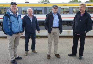 Inlandsbanans vänner reste självklart med Inlandsbanan till och från styrelsemötet i Sveg. Ove Strid, Christer Wilhelmsson, Lasse Holmqvist och Christer Andersson.