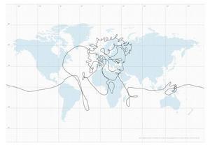 Erik Nordenankars fejkade GPS-konst. Han hade inte råd att genomföra resan i verkligheten. Illustration Erik Nordenankar