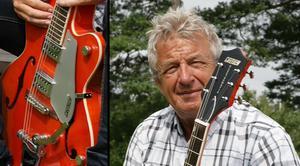 Gunnar Sundberg ville sälja två av sina gitarrer. Det slutade med att han själv fick köpa tillbaka dem efter att han blivit lurad på betalningen. Bild: Ove Käll