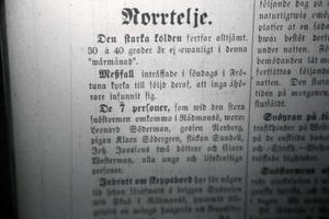 Notis i Norrtelje Tidning, 1988. Den berättar vilka som omkommit under snöstormen.