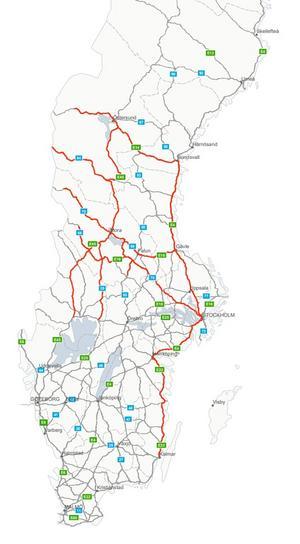 Vägar med hög trafikbelastning under påskhelgen 2019. Illustration: Trafikverket
