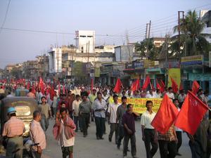 Arbetardemonstration i Indien. Foto: Soman