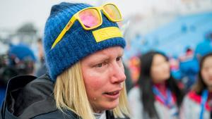 Sandra Näslund var märkbart frustrerad efter medaljmissen. Bild: Joel Marklund/Bildbyrån.