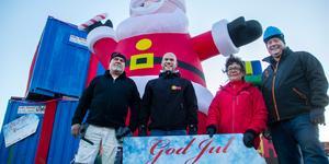 Rolf Andreasson från Myskje måleri, Thomas Westerdahl från Lekia, BrittMarie Windemo från Rädda barnen och Johan Bång från Inby rental vill locka söderhamnarna till att dela med sig i jul.
