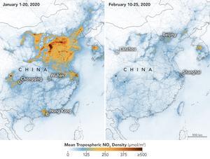 Från rymden visar satelliternas bilder att de färgstarka mönster som visar koncentrationen av kväveoxider över storstäder i Kina och Italien, har krympt ihop till små obetydliga nästan transparenta fläckar. Foto: NASA/TT