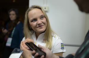 """Linn Svahn tror att det blir att åka som på sin """"egen bakgård"""" i helgen. Foto: TT"""