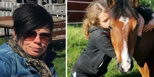 Lotta Staflin tog bilden på dottern Nora när hon kramade familjens  ponny Mireau.