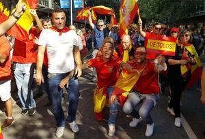 Hundratusentals som demonstrerar för ett enat Spanien 2017.Bild: Lars Pedersen/TT
