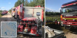 """Härjeåns som har hand om torvtäkten kallades ut och körde dit med traktorer. """"De kan sånt här mycket bättre,""""säger Henrik Jönsson. Företaget var på plats omkring 18.30-tiden."""