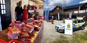 Under Byvandringen i Bruksvallarna har Familjen Siggelin dukat upp en fantastisk kakbuffe' då Bruksvallarnas Fjällhotell firar 80 år i år. Företag och organisationer visade upp sig för besökare, bland annat Polisen. Foto: Privat