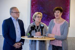 Regionen nya styret från vänster Glenn Nordlund (S), Lena Asplund (M) och Ingeborg Wiksten (L).
