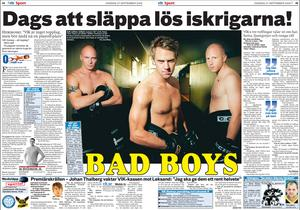 VIK:s tre tuffaste spelare inför säsongen 2006/2007. Det var Andreas Lindh, Patrik Nilsson och Stefan Holmberg. Här i ett barbröstat reportage i VLT 27 september 2008. VLT-arkiv