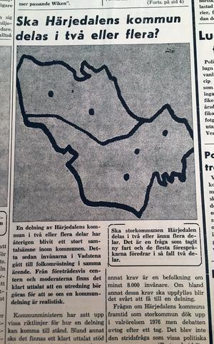 Det var på ropet att dela upp bildade storkommuner i landet. Förslaget i Härjedalen blev en delning i två delar.