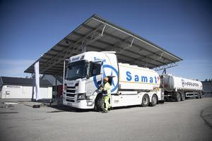 Här är den, första transporten med biobränsle i Jämtkrafts satsning.
