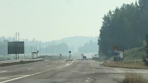 Bilden är tagen i Kinsta, Söderala. Det brinne rinte i Söderhamns kommun för tillfället, men man kan se rök och känna röklukt från bränderna i Ljusdal.