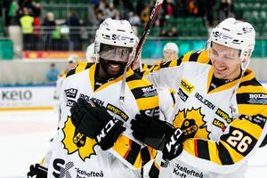 Edwin Hedberg i Skellefteås dräkt i fjol. Här tillsammans med Patrik Norén efter segern mot Rögle BK i Lindab Arena. Foto: TT/Anders Bjurö