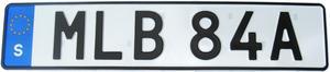 Den sista siffran kan ersättas av en bokstav, men inte o, i, v, q, å, ä eller ö. Foto: Transportstyrelsen.