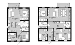 Här är planritningarna till de nya bostadsrätterna vid sjön Noren. Fyra rum och kök på 73 kvadratmeter samt fem rum och kök på 111 kvadratmeter. Ritning: Håppfullt boende i Dalarna AB.