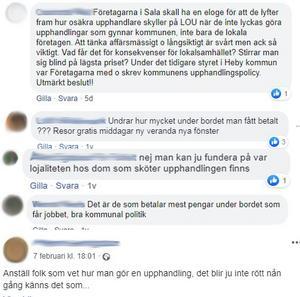 Diskussionerna om kommunens upphandlingar har delats friskt över sociala medier. Bland annat går det att läsa kommentarer som syftar till mutor.