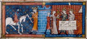 Parsifal anländer till Fiskarkungens slott. Illustration från 1330 av okänd konstnär.
