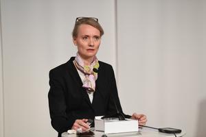 Karin Tegmark Wisell, avdelningschef, Folkhälsomyndigheten, talar under tisdagens digitala myndighetsgemensamma pressträff om den pågående coronapandemin.