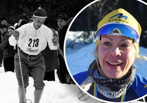 Montage: Sixten Jernberg och Årsundas Annika Löfström, som vann Sixten Jernberg Memorial Race på lördagen.