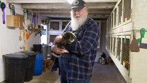 Johny Stolpe i stallet med rader av burar med kaniner. Han gillar väduren han håller i för att de har hängande öron.