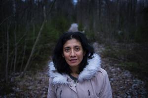 Maria Lilja gillar att gå långa promenader i skogen nära hemmet.