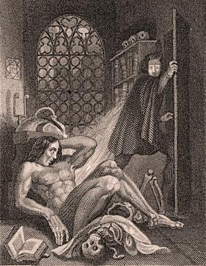 Victor Frankenstein och hans monster. Illustration av Theodore Von Holst från 1831.