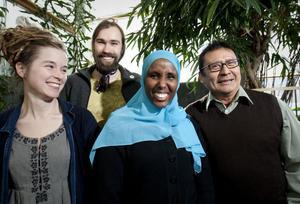De fyra toppnamnen på Miljöpartiets Härnösandslista: Amanda Lind,Tomas Q Nilsson, Hibo Abdullahi och Carlos Gil.