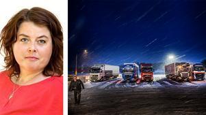 Martha Wicklund skriver om V:s arbete för en rättvis arbetsmarknad. Vänsterpartiet stödjer kragen på att utländska yrkeschaufförer inte får bo i sina hytter under längre perioder och att de får en ordentlig dygnsvila. FOTO: Tomas Oneborg / SvD / TT