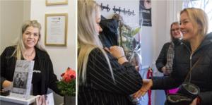 """Kö in och trångt den första timmen när skönhetssalongen som nu även erbjuder massage öppnade i nya lokaler. Här gratuleras Caroline Haglund av en tidigare elev Maria Englund. """"Hon driver eget i Odensvi. Det är jätteroligt""""."""