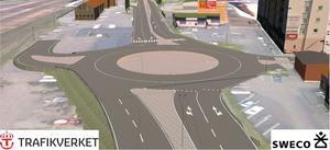 Regeringen har fastställt den vägplan som bland annat innebär att bussgaraget rivs och att det byggs en rondell vid korsningen Berslagsgatan – Vasagatan där det i dag är trafikljus. Skiss: Sweco