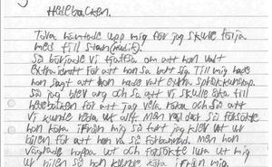 Första gången Billy Fagerström medger våld mot Tova Moberg är i ett brev till polisen den 2 november 2017.