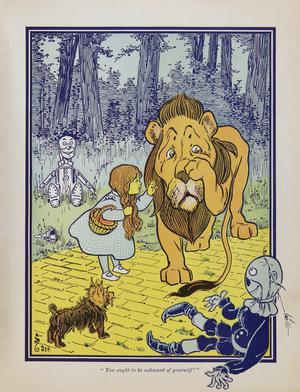 Dorothy möter lejonet Zeke. W. W. Denslows illustration i den första upplagan av