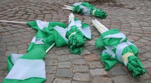 Att det inte var fullt lika många som marscherade i år, en tisdagskväll, vittnade de överblivna flaggorna på Stora torget om.
