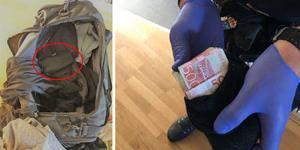 I en väska tillhörande 26-åringen hittades stora mängder kontanter. Bilder från polisens förundersökning.