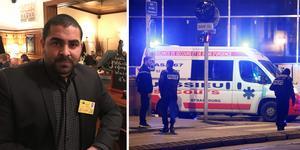 Tomas Izaias Englund, liberal ledarskribent för Örnsköldsviks Allehanda och Tidningen Ångermanland, är en av dem som fastnade på en restaurang efter skottlossningen i Strasbourg.
