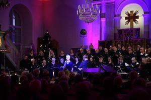 Sara & Pelle duo (Sara Öhlén och Pelle Nordlander) presenterade tillsammans med kören flera sånger med julbudskap ur den egna repertoaren. Foto: Patrick Melander