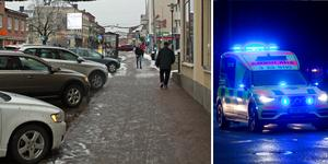 En man hittades kraftigt blödande med skador i huvudet på Åsgatan i Hedemora i fredags kväll. Han fördes med ambulans till sjukhus.