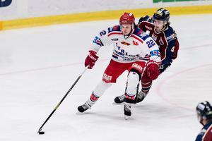 Måns Carlsson gjorde 42 poäng på 40 matcher i Vimmerby HC i Hockeyettan i fjol.  Foto: Krister Andersson/BILDBYRÅN