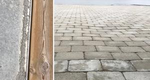 Den vänstra bilden visar uteplatsen, där först betongen och därefter den