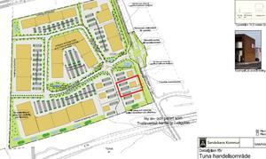 Markeringen i rött visar exakt var ChopChop vill bygga sin restaurang  på Tunaområdet. Karta: Sandvikens  Kommun