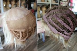Perukerna ser olika ut på insidan. En peruk där man har en bena och tydliga hårstrån är handknuten. Här är de två tunna lagren handknytna medan nedre delen är tränsad. En rufsig och