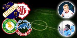 Edsbyn–Kilafors och Bollnäs Kurd–Järvsö är division 4-matcherna som livesänds den här veckan. Ettan och tvåan i skytteligan, Dido Hussein och Robin Modd, går alltså att se in action... FOTO: Montage