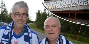 Bernt Lindgren och Roger Magnusson ska promenera från Borlänge till morgondagens Leksandsmatch. De räknar med en hastighet på fem kilometer i timmen.