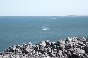 Strålande utsikt mot skärgårdsöarna, hamninloppet och horisonten.