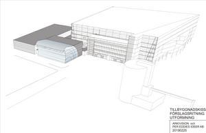 I förslaget ska en blackbox byggas till vänster om arenans huvudentré och intill den kommer den nya ishallen att ligga.