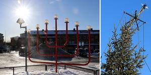 Centraltorget i Ånge är fortfarande julpyntat med gran och adventsstake.